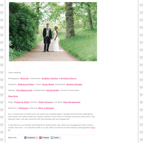 Featured on Love Sussex Weddings